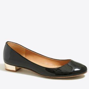 J.Crew Janey Black Patent Metallic Heel Flats 8